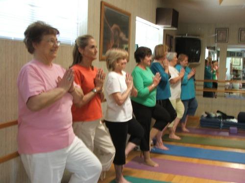 ladies enjoying a free yoga class